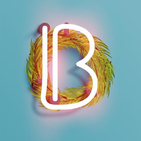 Neonguß von einem fontset mit Weihnachtsdekorationskiefer, Vektorillustration