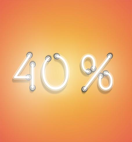 Realistic neon percentage sign, vector illustration