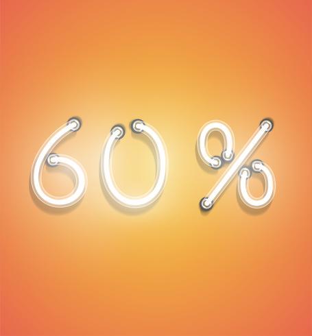 Signe de pourcentage réaliste néon, illustration vectorielle