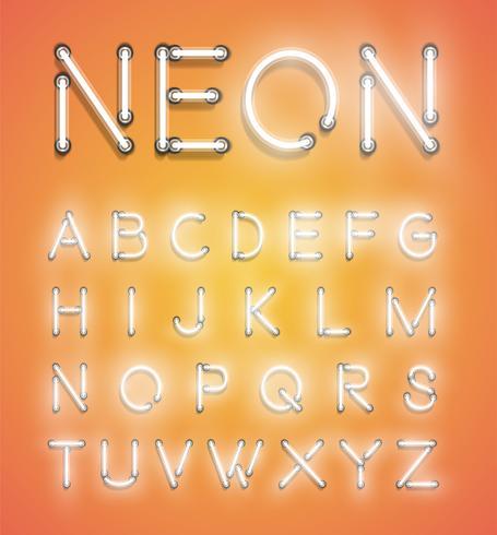 Insieme al neon realistico, illustrazione vettoriale