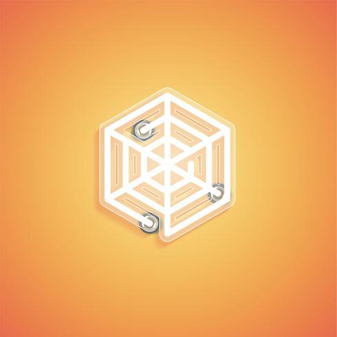 Brillante icono de neón realista para web, ilustración vectorial