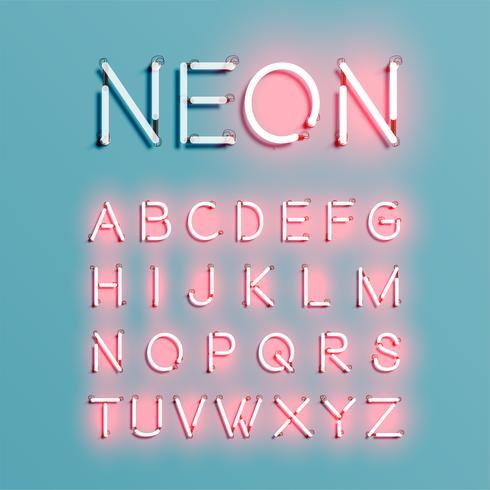 Conjunto de fuentes de carácter de neón realista, ilustración vectorial