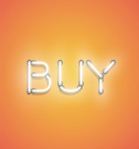 'BUY' - Realistic neon sign, vector illustration