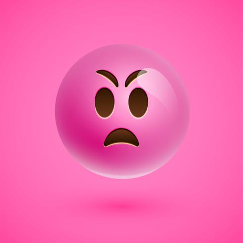 Pink realistic emoticon smiley face, vector illustration
