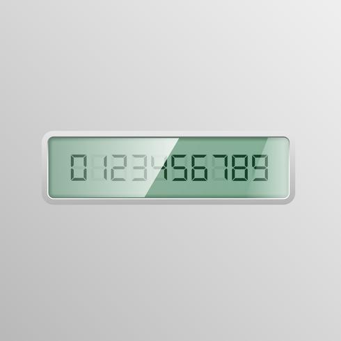 Digitale nummers 0-9 op een digitaal scherm, vectorillustratie