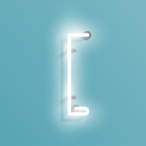 Carácter de neón realista de un conjunto de fuentes, ilustración vectorial