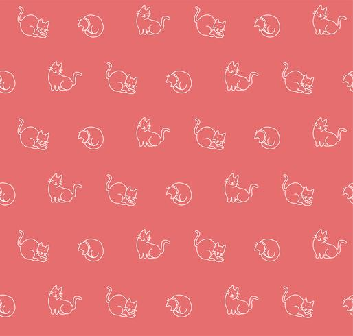 Dibujado a mano gatos sin patrón, ilustración vectorial