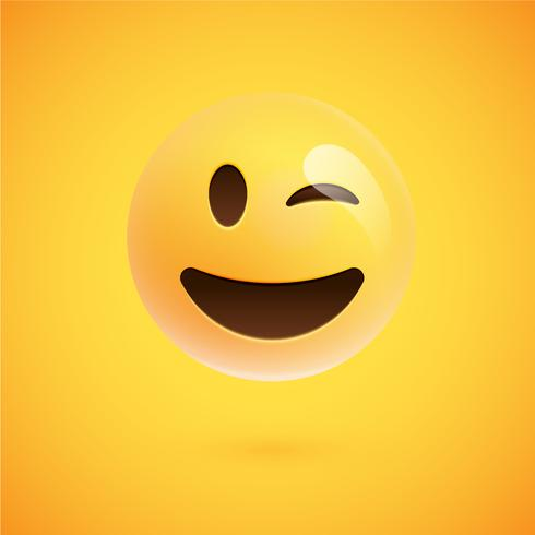 Emoticon amarillo realista delante de un fondo amarillo, ilustración vectorial