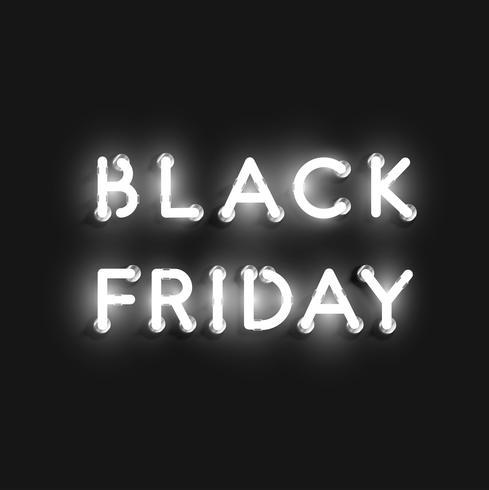 Realistisch neon 'BLACK FRIDAY' -teken, vectorillustratie
