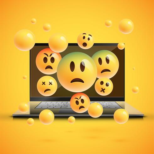 Emoticon alto-dettagliate su uno schermo del taccuino, illustrazione di vettore