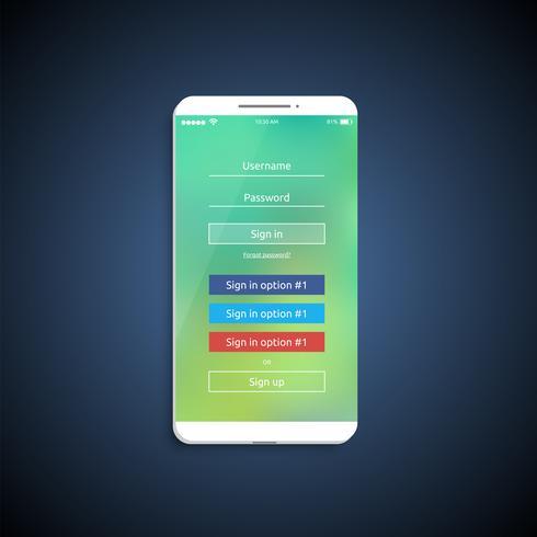 Einfache und bunte UI-Oberfläche für Smartphones - Anmeldebildschirm, Vektorillustration vektor