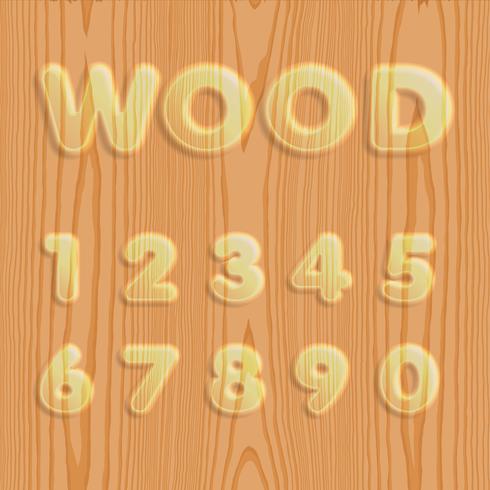 Conjunto de fuentes de madera texturizada, ilustración vectorial