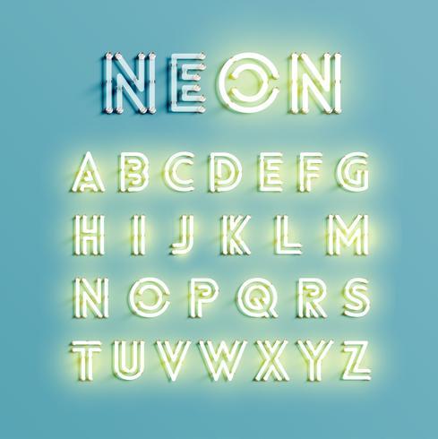 Conjunto de caracteres de neón realista, ilustración vectorial vector