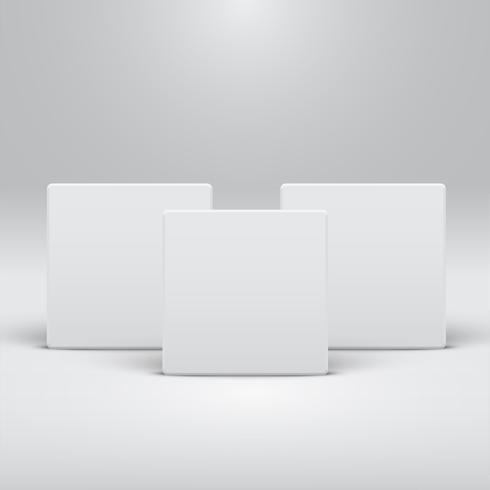 Vit mall för webbplatser eller produkter, realistisk vektor illustration