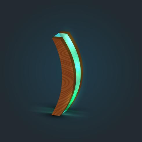 Carattere 3D, realistico, di vetro e di legno da un carattere tipografico, vettore