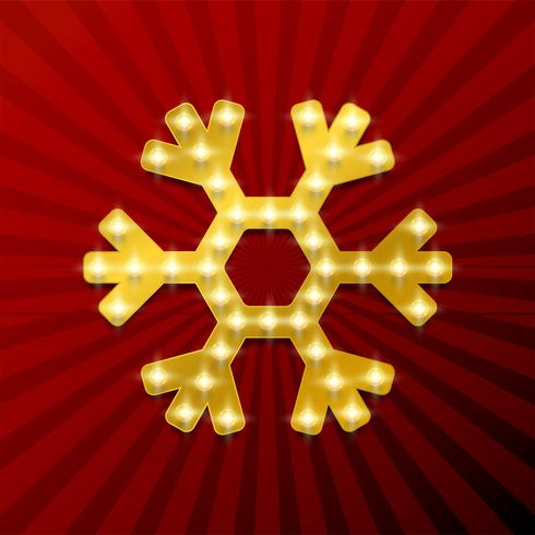 Fiocco di neve 3D con lampadine, illustrazione vettoriale
