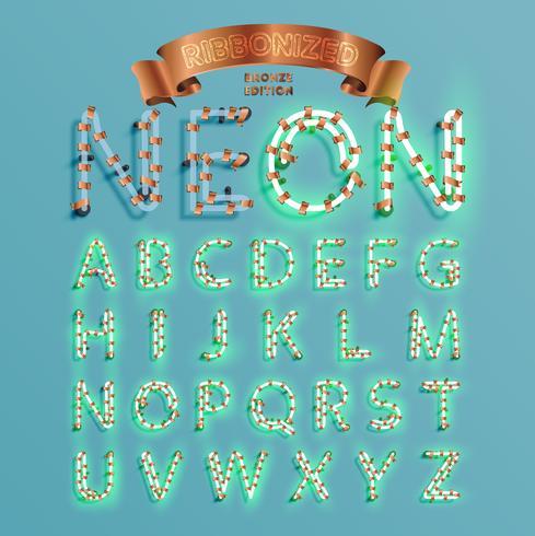 Fontset de fonte de néon com pinho de decoração de Natal, ilustração vetorial