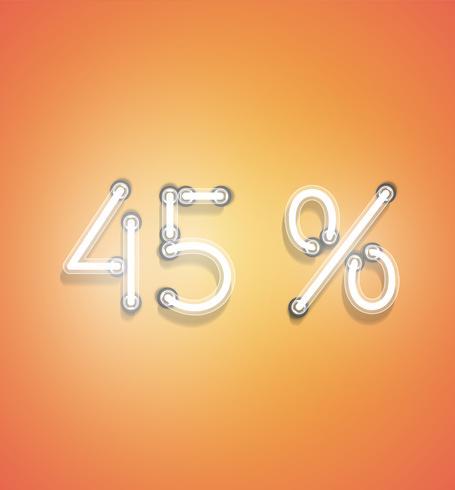 Signo de porcentaje de neón realista, ilustración vectorial