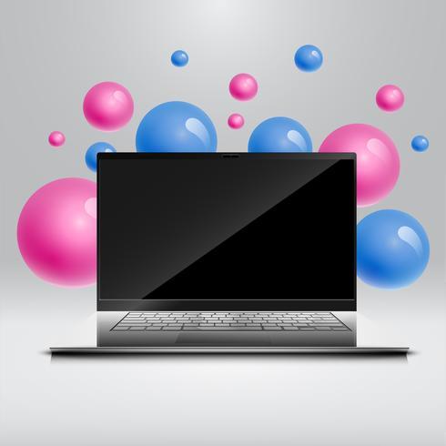 Bolhas coloridas flutuando em torno de um computador realista / laptop para o negócio, ilustração vetorial