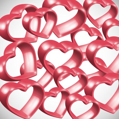 Red 3D heart frame, vector illustration