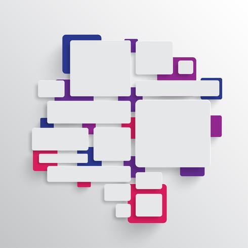 Forma redondeada con sombra y fondo de círculo colorido. vector