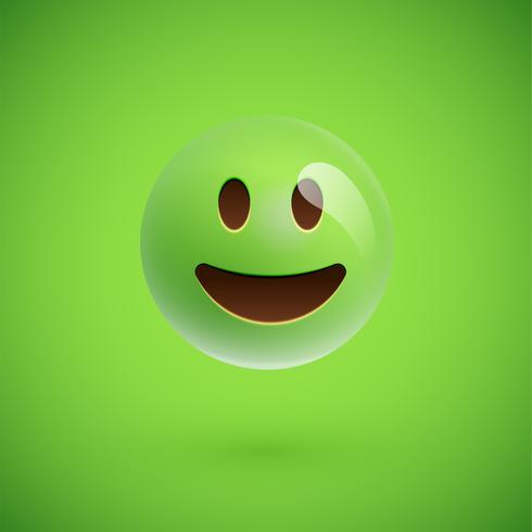 Grön realistisk uttryckssymbol smiley ansikte, vektor illustration