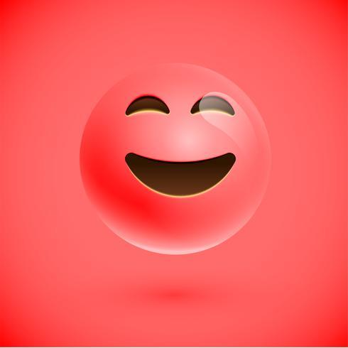 Visage souriant émoticône réaliste rouge, illustration vectorielle