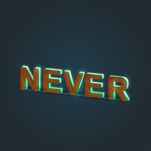 'NUNCA' - Ilustración realista de una palabra hecha por madera y vidrio brillante, vector