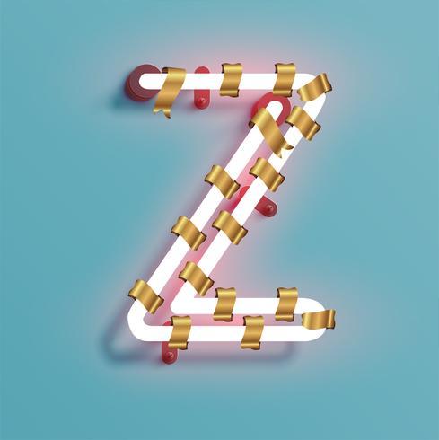 Police de néon d'un jeu de polices avec pin de décoration de Noël, illustration vectorielle