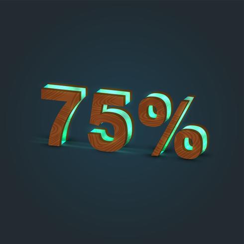 '75% '- Ilustración realista de una palabra hecha por madera y vidrio brillante, vector