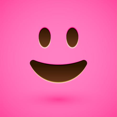 Pink realistic emoticon smiley face, vector illustration