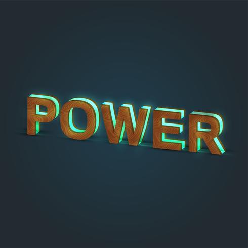 'POTERE' - Illustrazione realistica di una parola fatta da legno e vetro incandescente, vettore