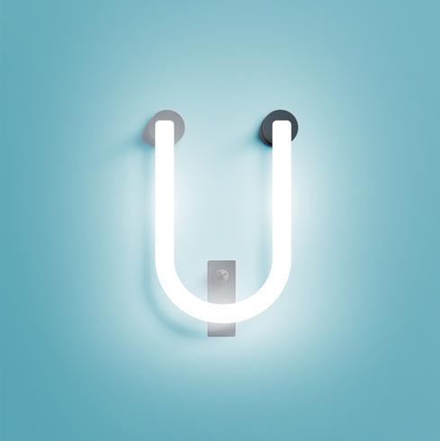 Realistisk neon karaktär från en fontset, vektor illustration