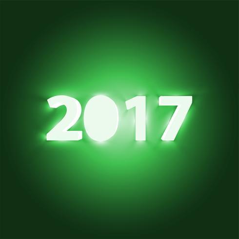 Neon 2017 brillante signo, ilustración vectorial
