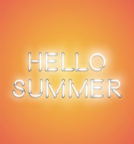 'HELLO SOMMER' - Realistiskt neontecken, vektor illustration