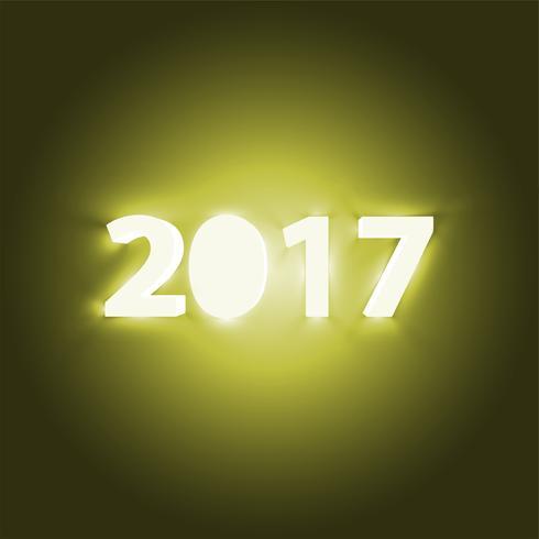 Neon 2017 brillante signo, ilustración vectorial vector