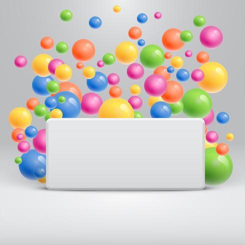 Modèle blanc vierge avec des boules colorées flottant pour la publicité, illustration vectorielle