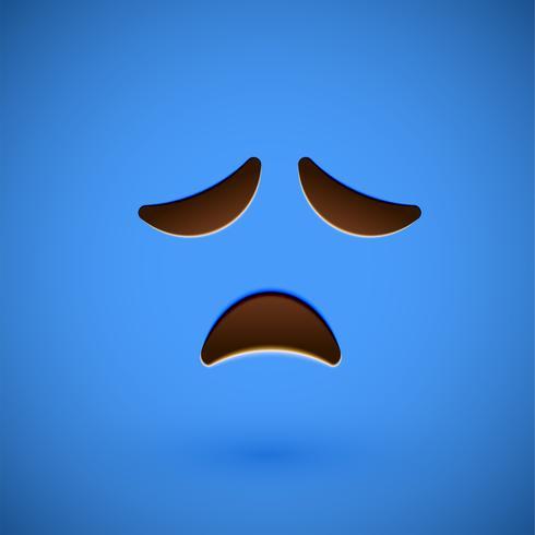 Emoticon realista azul cara sonriente, ilustración vectorial vector