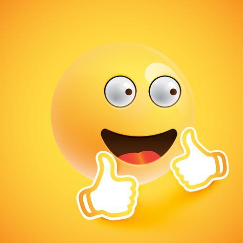 Emoticon con los pulgares hacia arriba, ilustración vectorial