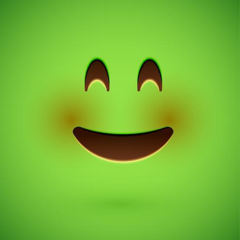 Emoticon realista verde cara sonriente, ilustración vectorial vector
