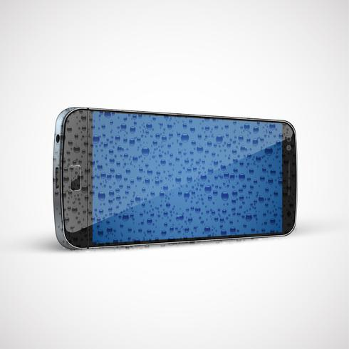 Realistic, high-detailed wet cellphone, vector illustration