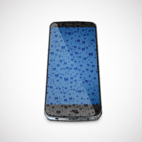 Realistisches, hoch-ausführliches nasses Mobiltelefon, Vektorillustration