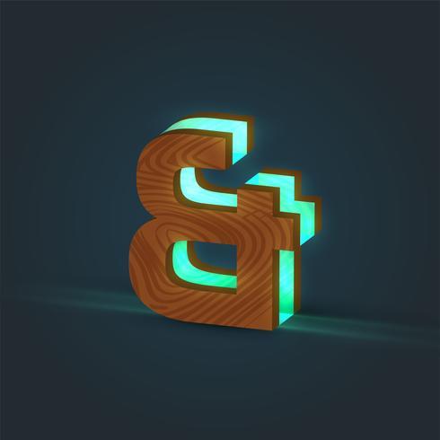 3D, realista, vidrio y carácter de madera de una tipografía, vector