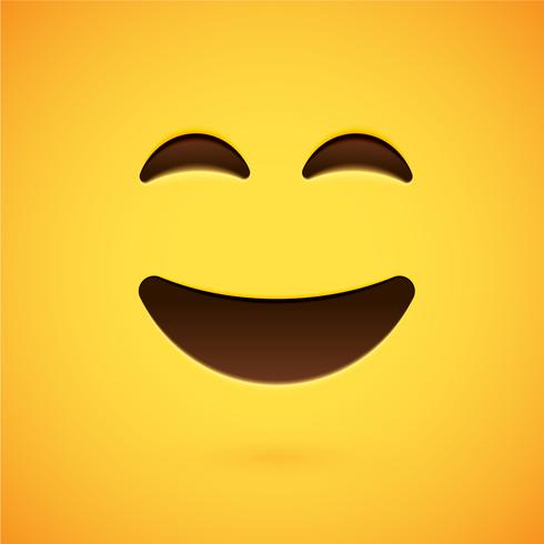 Emoticon amarillo realista delante de un fondo amarillo, ilustración vectorial vector