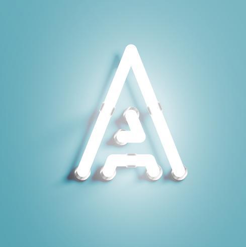 Personagem de néon realista de um fontset, ilustração vetorial