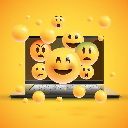 Hoog-gedetailleerde emoticons op het notitieboekjescherm, vectorillustratie