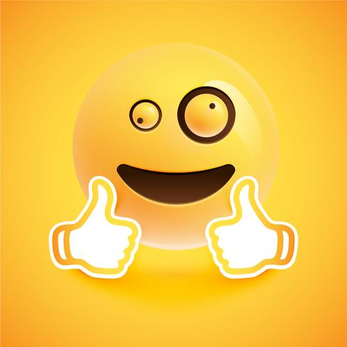 Emoticon with thumbs up, vector illustration