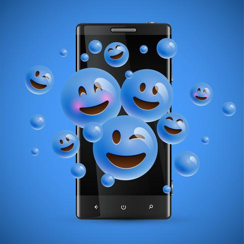 3D and different kinds of emoticons with matte smartphone, vector illustartion