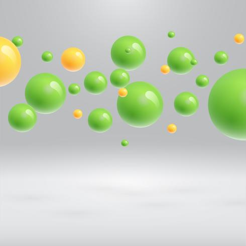 Esferas coloridas flutuando, ilustração vetorial realista