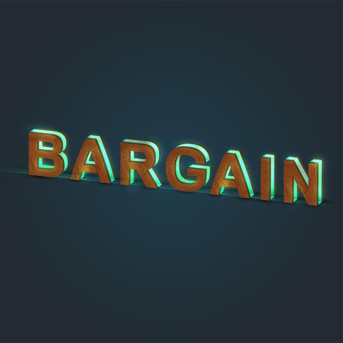 'GANGA' - Ilustración realista de una palabra hecha por madera y vidrio brillante, vector